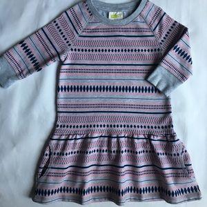 Girls dress 4 geometric pattern gray pink sweats